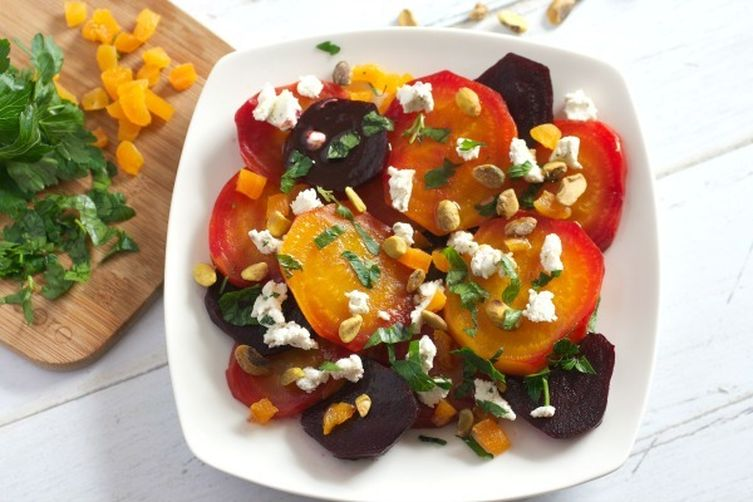 Beet Salad with Goat Cheese, Apricots, and Pistachios Recipe on Food52