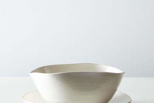 Gravy Boat with Gold Rim