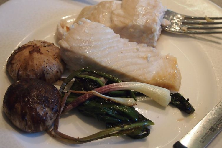 Roasted Salmon with Ramps and Mushrooms