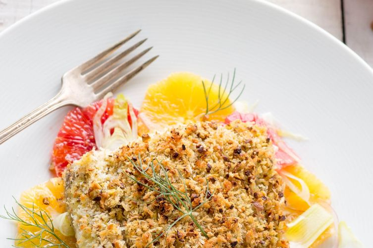 PISTACHIO CRUSTED BARRAMUNDI WITH ORANGE FENNEL SALAD