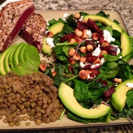 Raw Kale & Spinach Salad with Smoked Bacon, Chèvre, & Toasted Hazelnuts