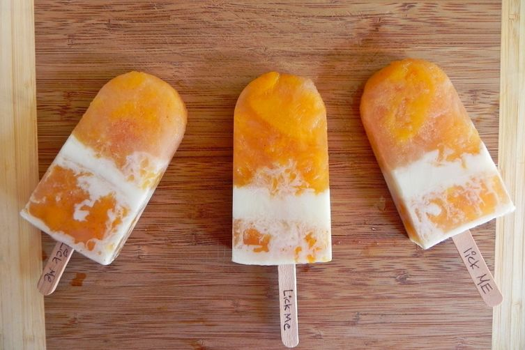 Stewed Peaches & Cream Ice Pops