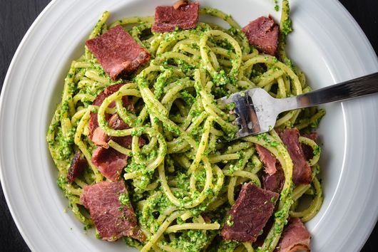 Nettle Pesto Pasta with Bacon