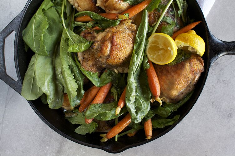Skillet roasted chicken thighs with dandelion greens baby carrots skillet roasted chicken thighs with dandelion greens baby carrots forumfinder Image collections