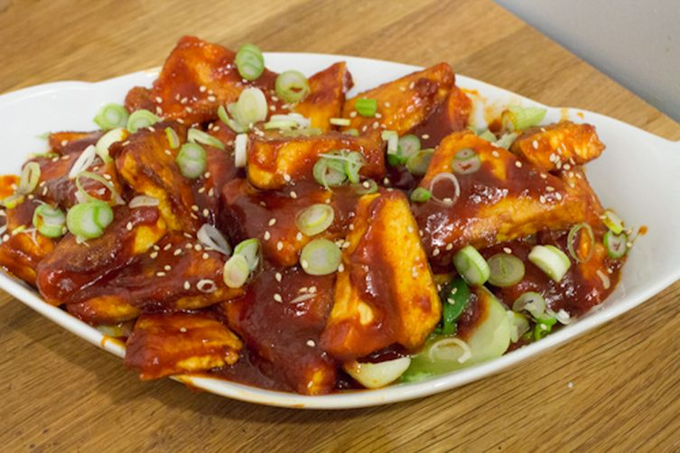 Gochujang Tofu with Scallions