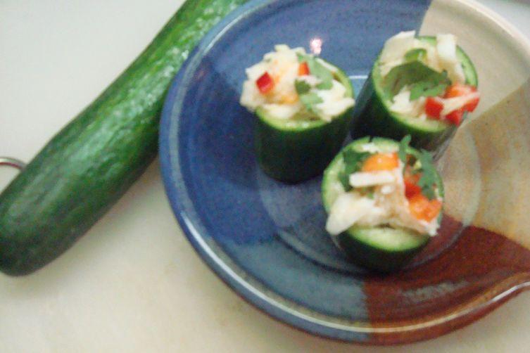 Portuguese Seviche Cucumber Cups