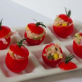 Cherry Tomatoes stuffed with Tuna Melt