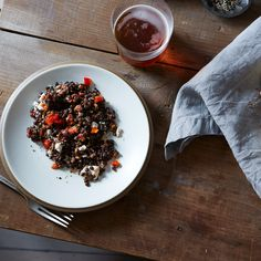 Deborah Madison's Lentil Salad with Mint, Roasted Peppers, and Feta Cheese