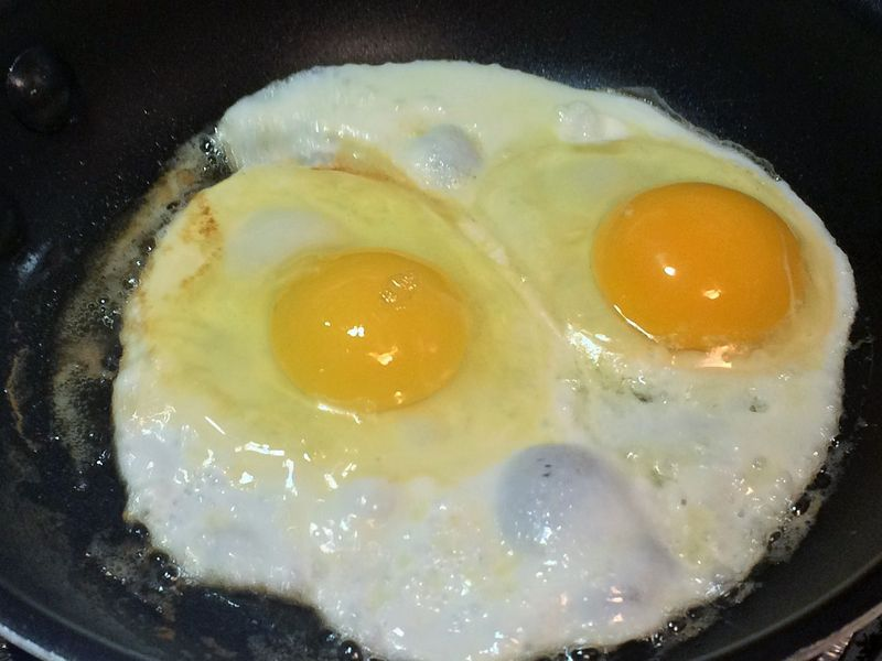 Local egg (on the left) versus a shipped-in egg (on the right).