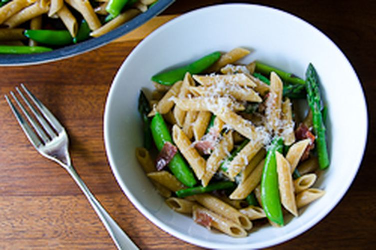 Linguine With Bacon, Goat Cheese And Sugar Snap Peas Recipes ...
