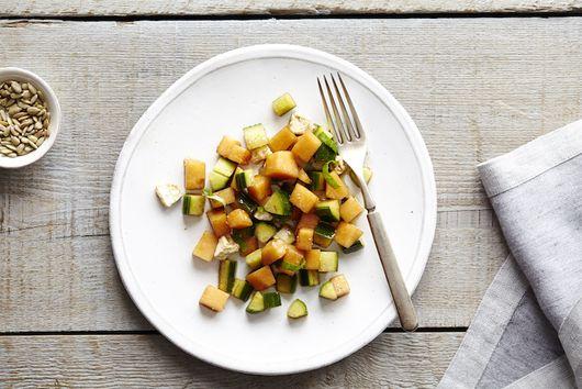 Cantaloupe & Cucumber Salad with Basil & Feta