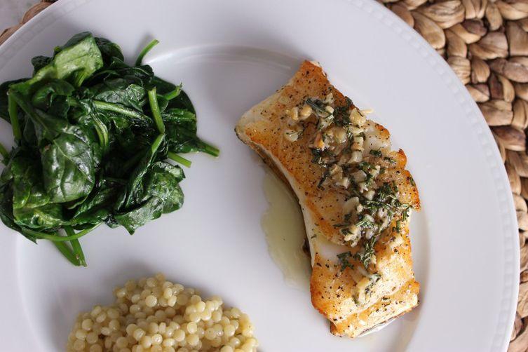 Chilean Sea Bass w/ Fresh Herbs & Sauteed Garlic