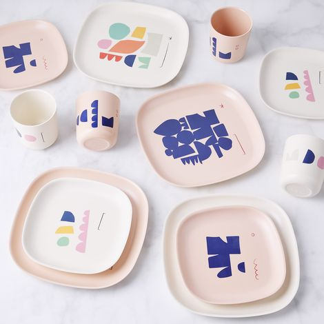 Illustrated Bamboo Dinnerware (Set of 4)