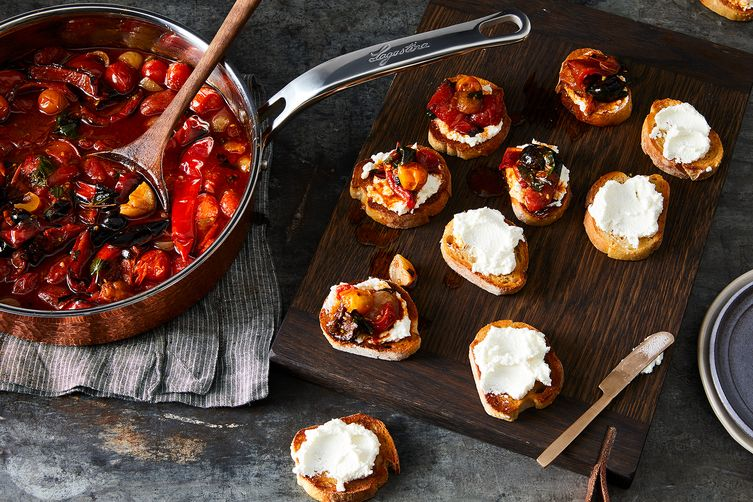 Roasted & Marinated Red Peppers with Olives, Capers & Herbs