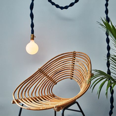 Navy Rope & Brass Pendant Light