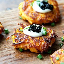 Sweet Potato Pancakes with Caviar and Crème Fraîche