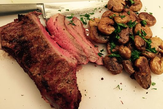 Seared Garlic Butter Roast with Crunchy Parmesan Fried Potatoes