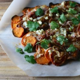 Sweet potato, prosciutto and caramelized onion pizza
