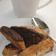 Mini Chocolate Dipped Cherry Almond Biscotti