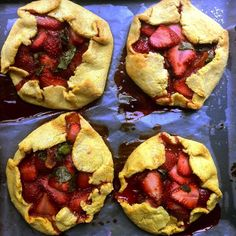 Strawberry Basil Free Form Cornmeal Tart