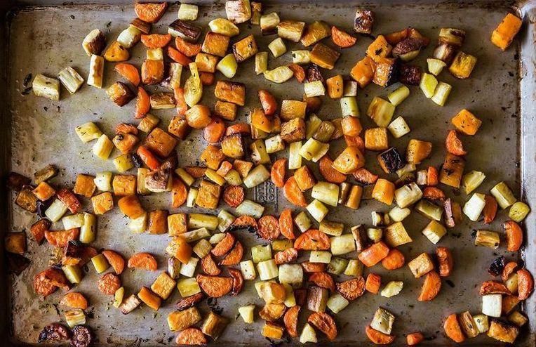 Penne with Creamed Greens + Crisp and Tender Roast Vegetables