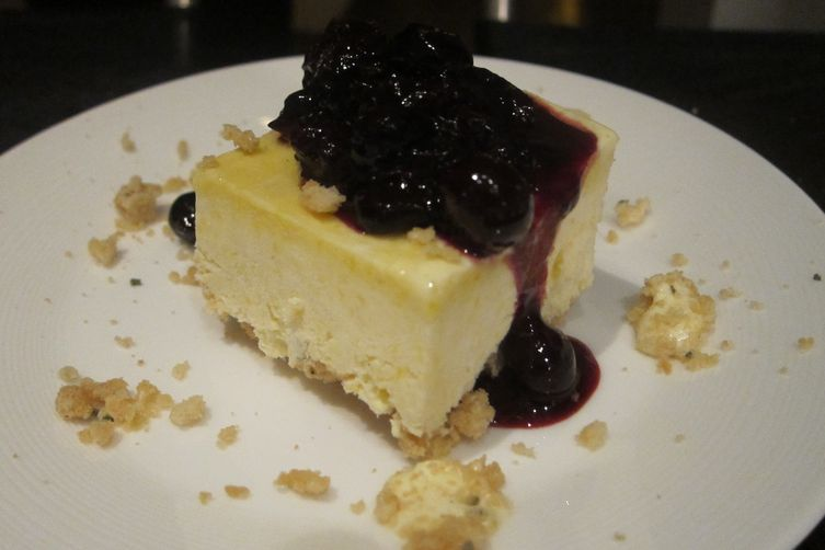 Summer Corn Semifreddo with Rosemary Shortbread Crust and Blueberry Compote