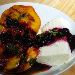 Peaches-n-Herb (Grilled Peaches, Lemon-Thyme Semifreddo, Blueberry Sauce)