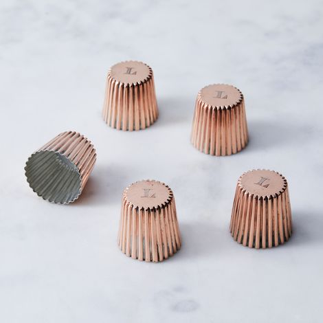 Vintage Copper Mini Cannele Moulds, Late 19th Century (Set of 5)
