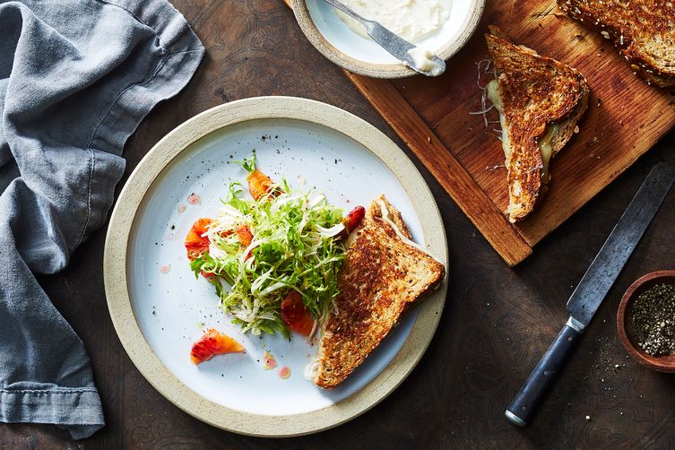 Coconut Butter Grilled Cheese with Frisée and Blood Orange