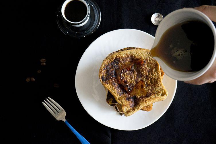 Coffee Infused Pain Perdu Topped with a Peanut Butter Coffee Smear