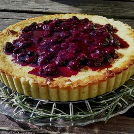 Goat Cheese Tart with Blueberry Rosemary Compote