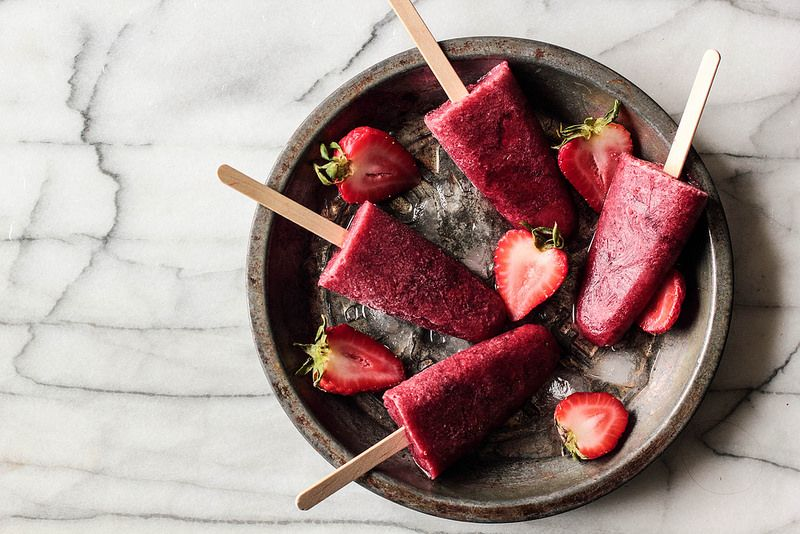 Strawberry Red Wine Popsicles