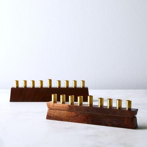 Handcrafted Walnut & Brass Menorah