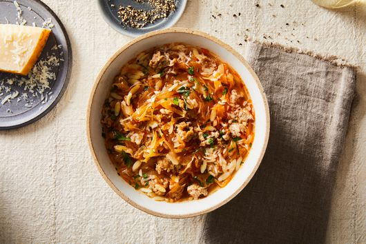 Cabbage, Sausage & Orzo Soup With Parmesan
