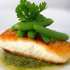 Seared Halibut with Snap Peas and Salsa Verde