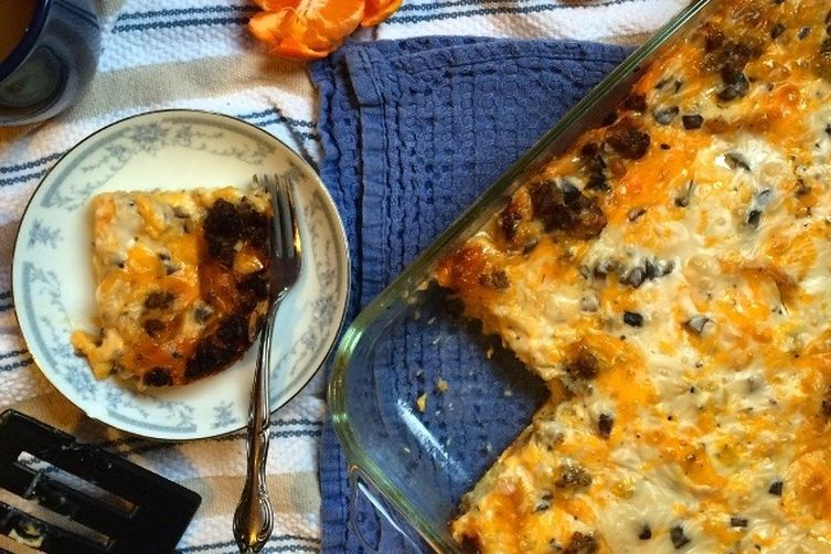 "Breakfast Casserole with Mushroom ""Gravy"""