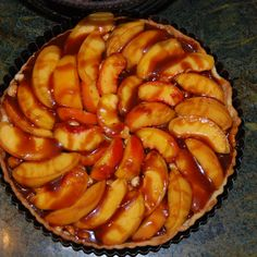 hazelnut caramel peach tart