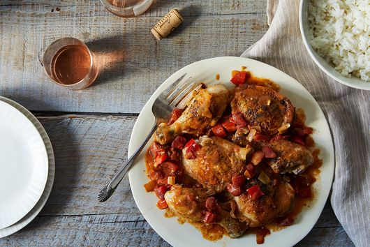 Chicken with Mustard and Red Peppers