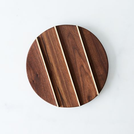 Round Walnut & Brass Trivet