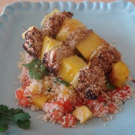 Honey and Mustard Chicken with Mango and Ginger Skewers