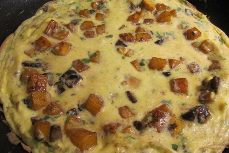 Savory Squash and Mushroom Frittata with Jalapeno and Cinnamon