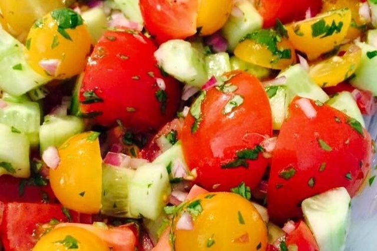 Tomato Cucumber Rainbow Salad