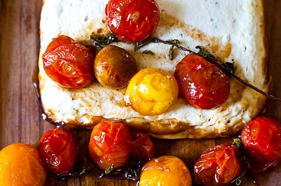 Baked Ricotta and Goat Cheese with Cherry Tomatoes
