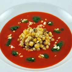 Roasted Red Pepper Soup with Corn and Cilantro