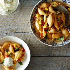 Dinner Tonight: Pasta with Tomatoes, Corn, Squash, and Ricotta