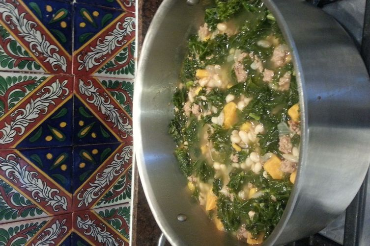 Portuguese Sausage, Kale and Sweet Potato Soup