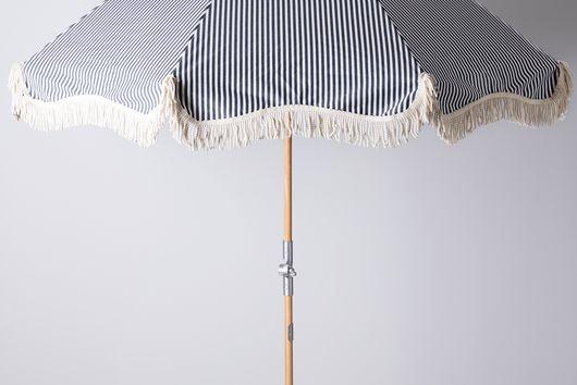 Navy & White Stripe Premium Beach Umbrella