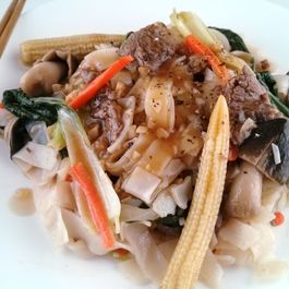 Savory Sauteed Pho Noodles with Beef Tenderloin & Veggies in Garlicky Sauce
