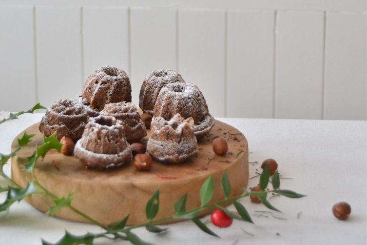 Flourless Chocolate-Hazelnut Mini Bundt Cakes