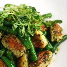 Cheesy Gnudi with Green Beans and Pesto